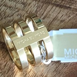 NWT Gold Tone Michael Kors Tri Stack Ring Size 7